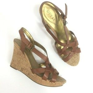 Guess 11M Wedges Shoes Brown Open Toe Cork